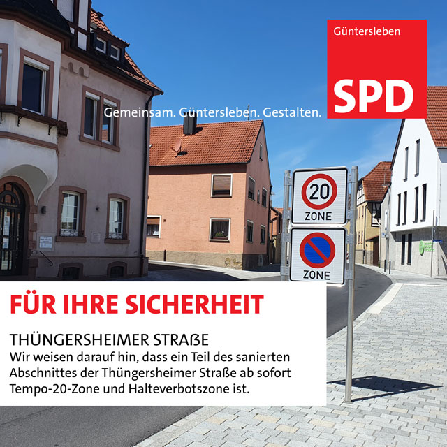 Tempo 20 und Halteverbot in der Thüngersheimer Straße